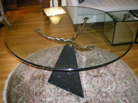 Glass  Top Marble and Brass Pedestal table