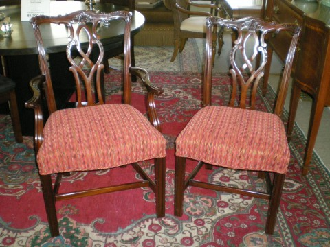 Kindel 18th Century Collection Mahogany Chippendale Chairs, Set of Six