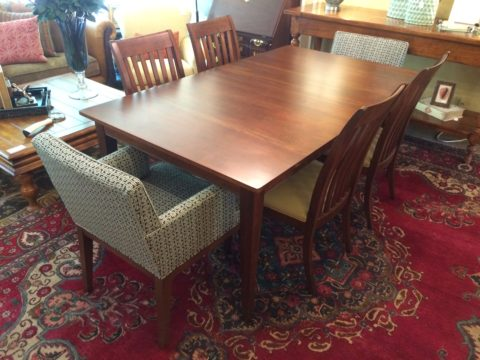 Ethan Allen Rowan Large Dining Table with Six Chairs