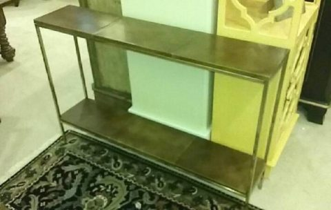 Two-Tiered Leather Console Table