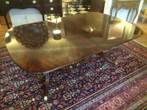 Kindel 18th Century Collection Crotch Mahogany Double Pedestal Dining Table