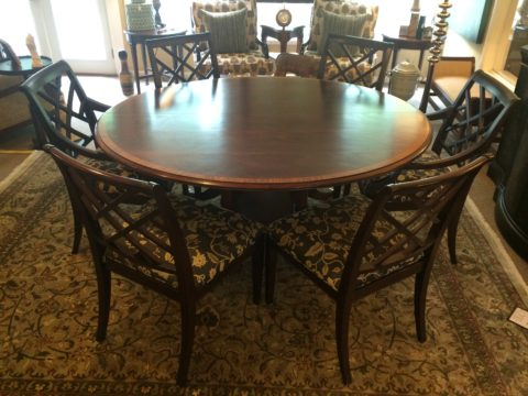 Ethan Allen Newport Dining Table with Eight Modern Glamour Chairs