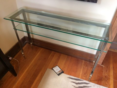 Custom Stainless Steel & Glass Console Table